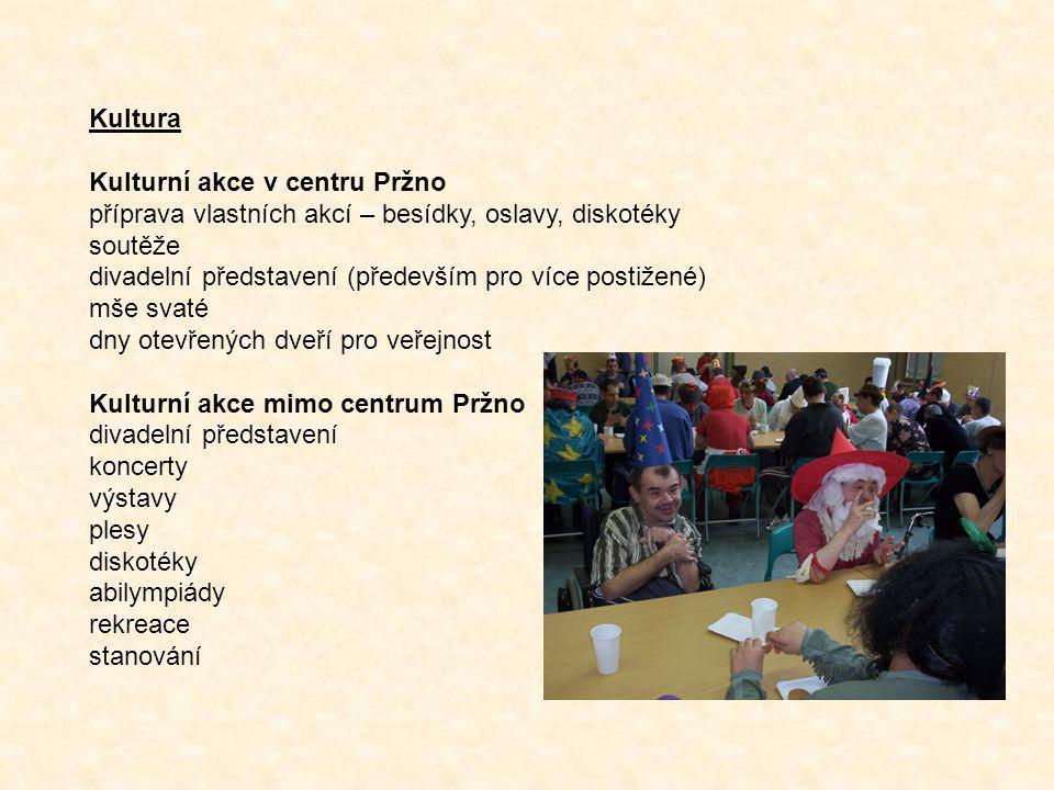 Kultura Kulturní akce v centru Pržno příprava vlastních akcí – besídky, oslavy, diskotéky soutěže divadelní představení (především pro více postižené)