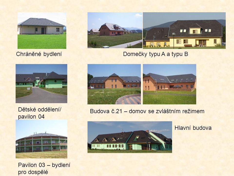 Chráněné bydlení Dětské oddělení/ pavilon 04 Pavilon 03 – bydlení pro dospělé Hlavní budova Domečky typu A a typu B Budova č.21 – domov se zvláštním r
