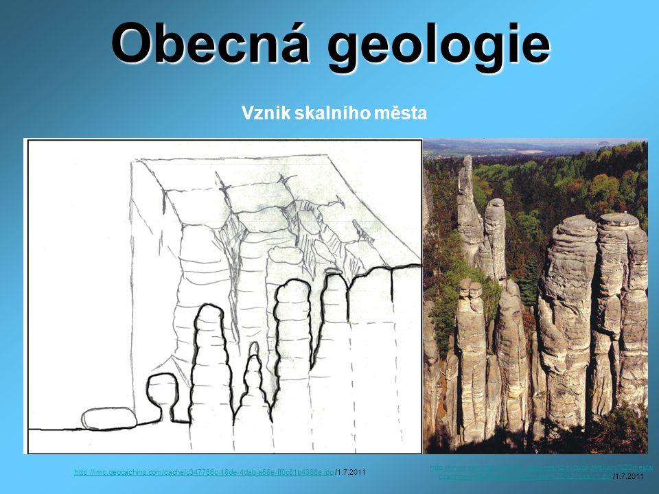 Obecná geologie - ve vápencových oblastech krasové útvary ( jeskyně, propasti) - jeskyně – nerozpustný uhličitan vápenatý se vylučuje z hydrogenuhličitanu vápenatého v podobě krápníků (stalaktity, stalagmity, stalagnáty) - propasti - svisle krasové dutiny /Macocha, hloubka 138 m/ Činnost mořské vody - příliv = rušivá /podemílání skal, pobřeží/ - odliv, příboj = tvoření pláží, vytřídění částic hornin a nerostů (vliv Měsíce)