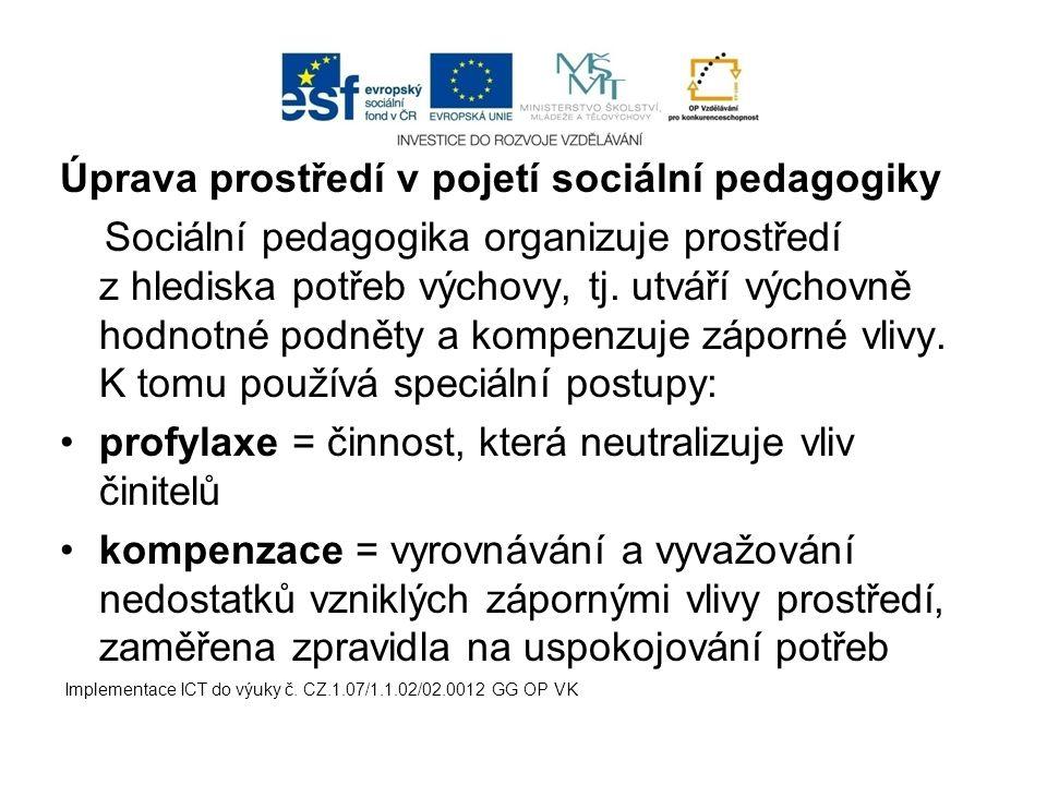 Úprava prostředí v pojetí sociální pedagogiky Sociální pedagogika organizuje prostředí z hlediska potřeb výchovy, tj. utváří výchovně hodnotné podněty
