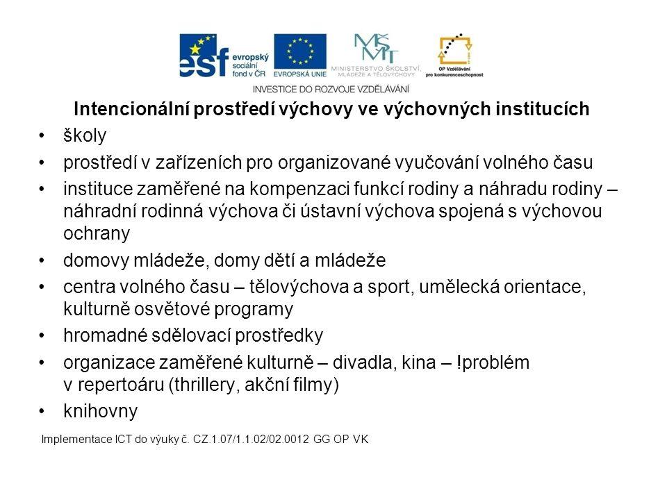 Intencionální prostředí výchovy ve výchovných institucích školy prostředí v zařízeních pro organizované vyučování volného času instituce zaměřené na k