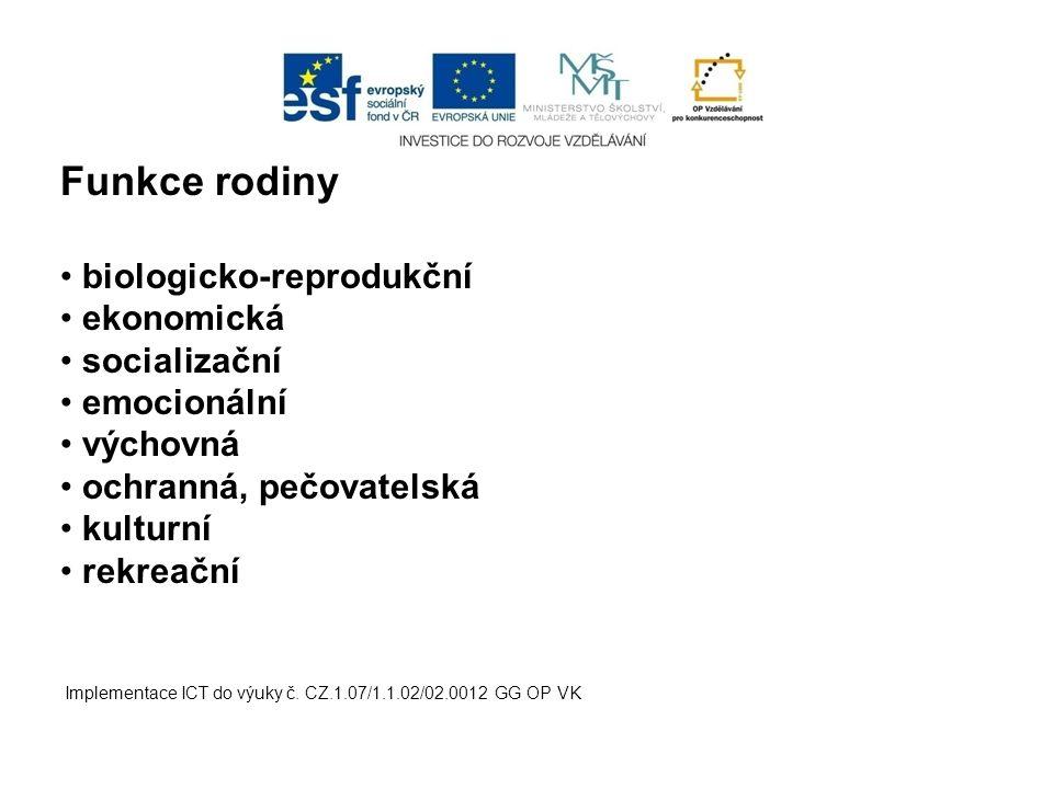 Implementace ICT do výuky č. CZ.1.07/1.1.02/02.0012 GG OP VK Funkce rodiny biologicko-reprodukční ekonomická socializační emocionální výchovná ochrann