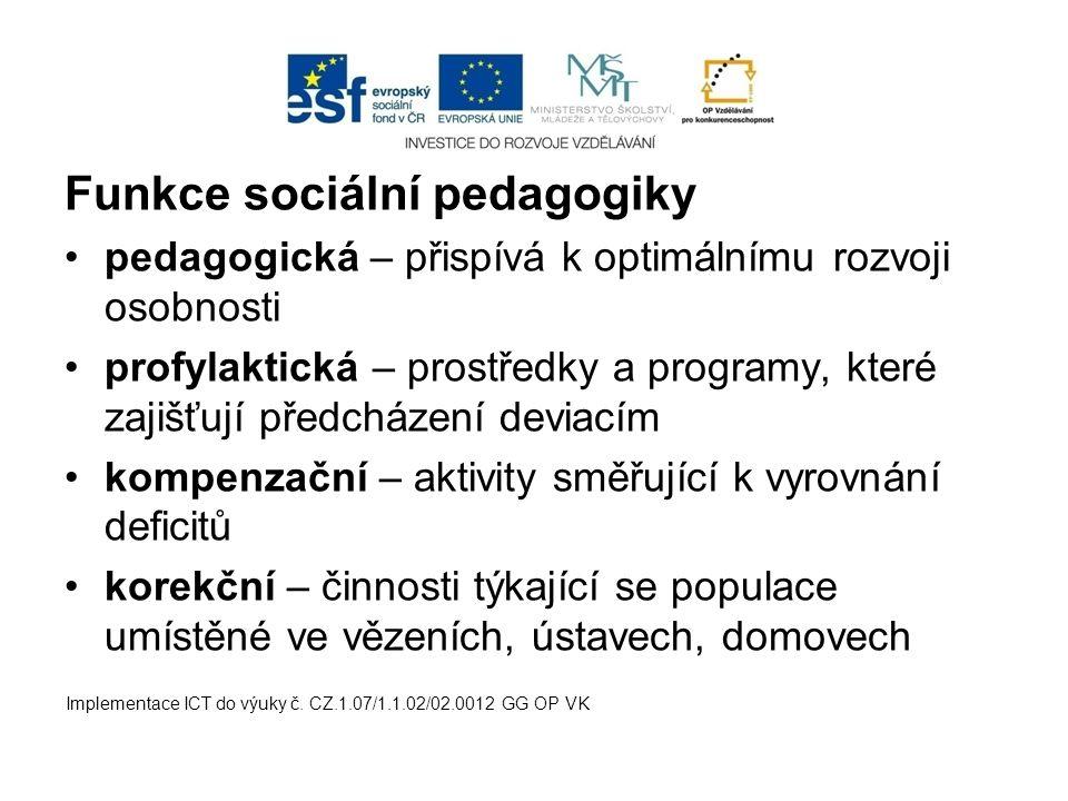 Funkce sociální pedagogiky pedagogická – přispívá k optimálnímu rozvoji osobnosti profylaktická – prostředky a programy, které zajišťují předcházení d
