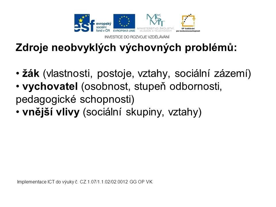 Implementace ICT do výuky č. CZ.1.07/1.1.02/02.0012 GG OP VK Zdroje neobvyklých výchovných problémů: žák (vlastnosti, postoje, vztahy, sociální zázemí