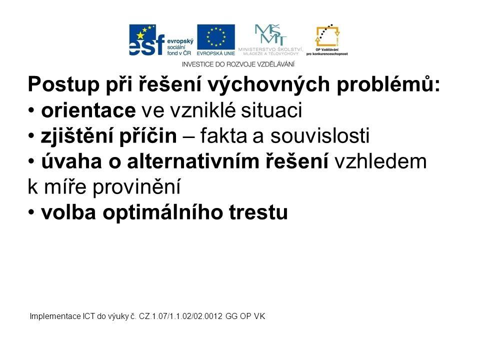 Implementace ICT do výuky č. CZ.1.07/1.1.02/02.0012 GG OP VK Postup při řešení výchovných problémů: orientace ve vzniklé situaci zjištění příčin – fak