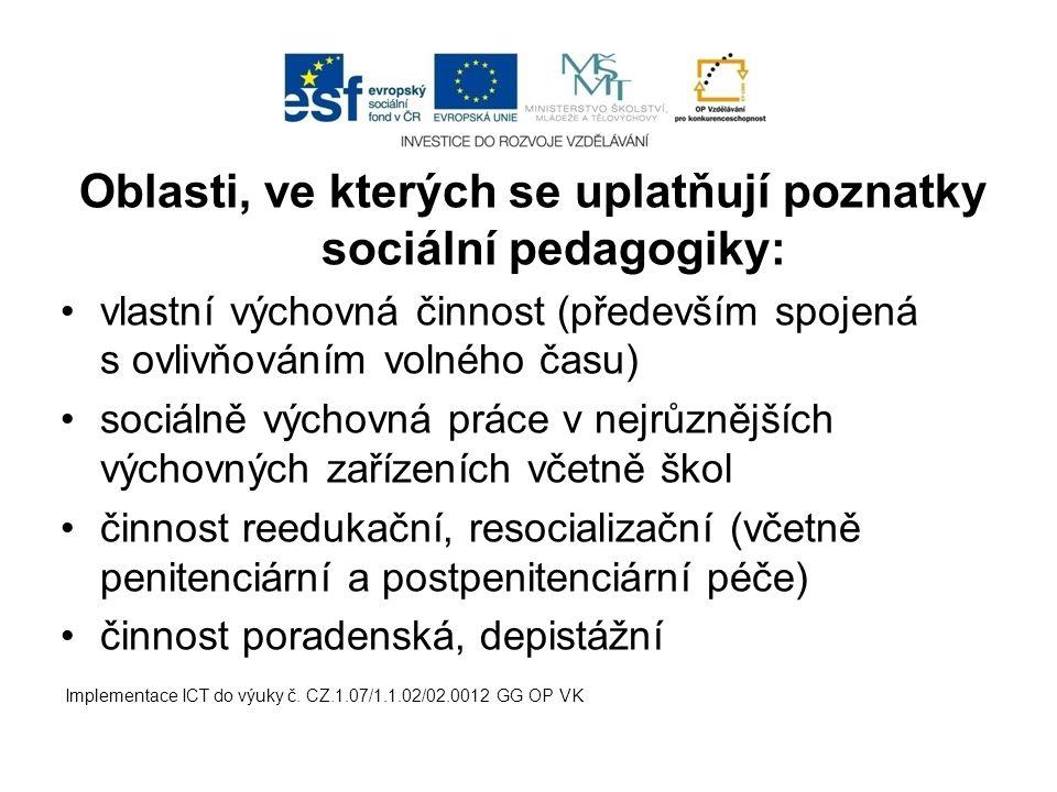 Oblasti, ve kterých se uplatňují poznatky sociální pedagogiky: vlastní výchovná činnost (především spojená s ovlivňováním volného času) sociálně výcho