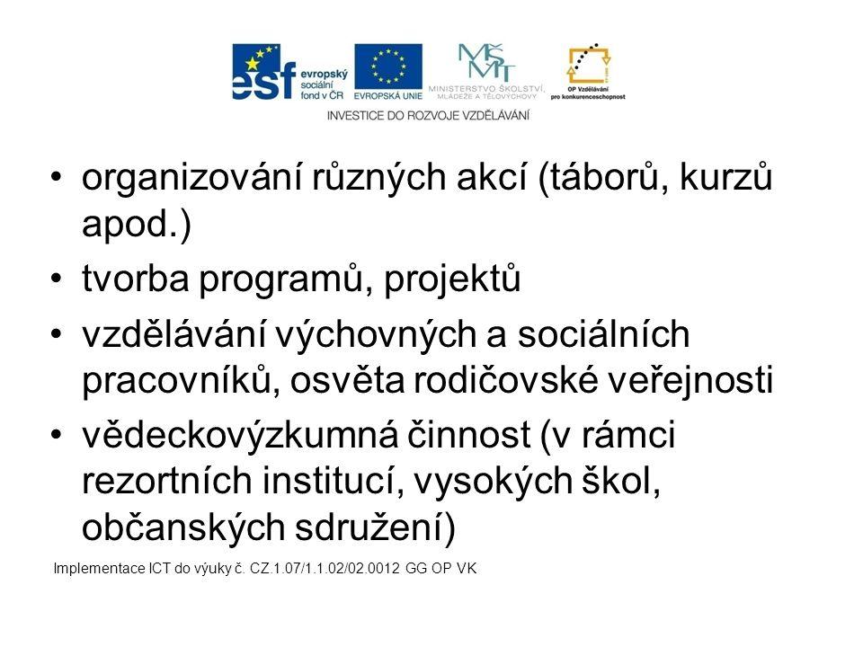 organizování různých akcí (táborů, kurzů apod.) tvorba programů, projektů vzdělávání výchovných a sociálních pracovníků, osvěta rodičovské veřejnosti
