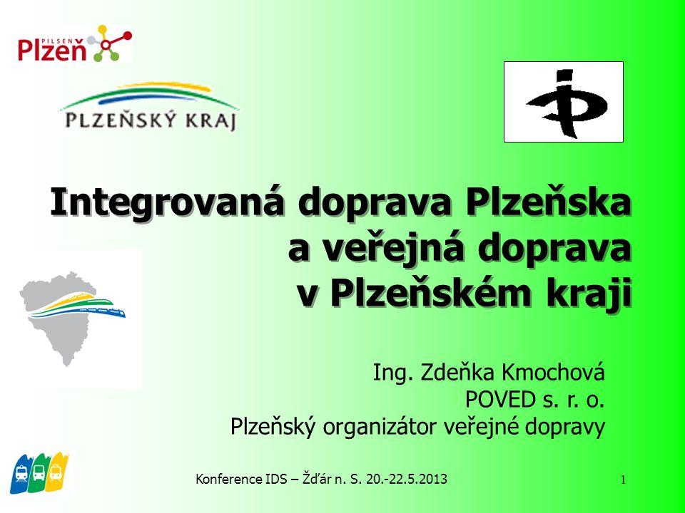 Konference IDS – Žďár n. S. 20.-22.5.2013 1 Integrovaná doprava Plzeňska a veřejná doprava v Plzeňském kraji Ing. Zdeňka Kmochová POVED s. r. o. Plzeň