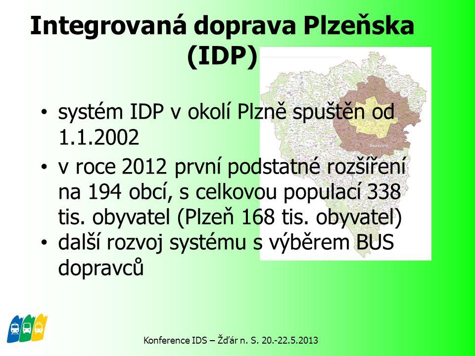 Integrovaná doprava Plzeňska (IDP) systém IDP v okolí Plzně spuštěn od 1.1.2002 v roce 2012 první podstatné rozšíření na 194 obcí, s celkovou populací