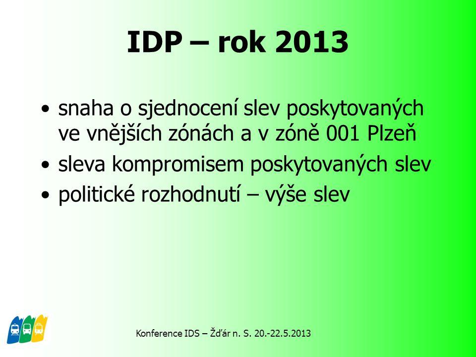 IDP – rok 2013 snaha o sjednocení slev poskytovaných ve vnějších zónách a v zóně 001 Plzeň sleva kompromisem poskytovaných slev politické rozhodnutí –
