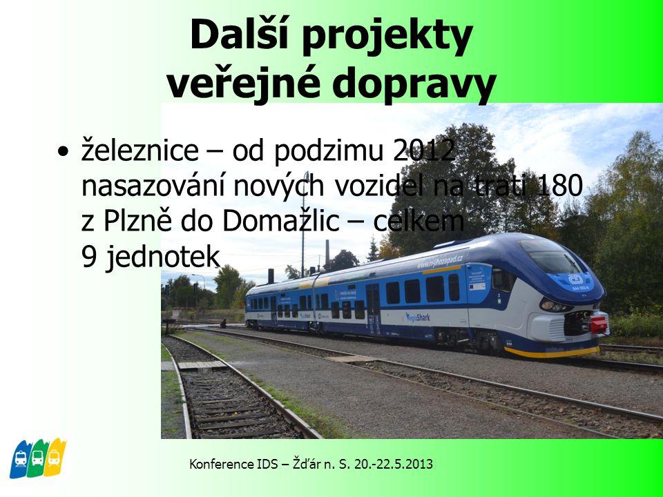 Další projekty veřejné dopravy železnice – od podzimu 2012 nasazování nových vozidel na trati 180 z Plzně do Domažlic – celkem 9 jednotek Konference I