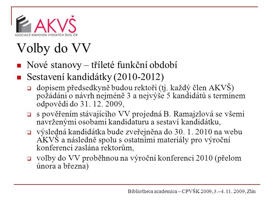 Bibliotheca academica – CPVŠK 2009, 3.–4. 11. 2009, Zlín Volby do VV Nové stanovy – tříleté funkční období Sestavení kandidátky (2010-2012)  dopisem