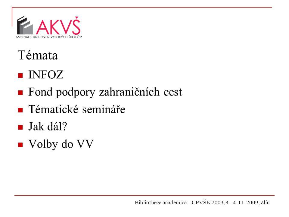 Bibliotheca academica – CPVŠK 2009, 3.–4. 11. 2009, Zlín Témata INFOZ Fond podpory zahraničních cest Tématické semináře Jak dál? Volby do VV