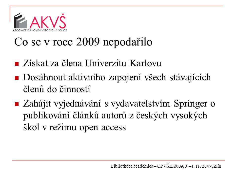 Bibliotheca academica – CPVŠK 2009, 3.–4. 11. 2009, Zlín Co se v roce 2009 nepodařilo Získat za člena Univerzitu Karlovu Dosáhnout aktivního zapojení