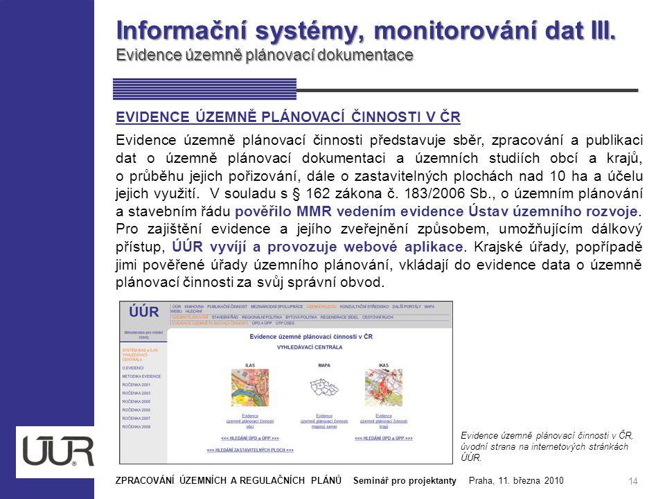 Informační systémy, monitorování dat III. Evidence územně plánovací dokumentace 14 ZPRACOVÁNÍ ÚZEMNÍCH A REGULAČNÍCH PLÁNŮ Seminář pro projektanty Pra