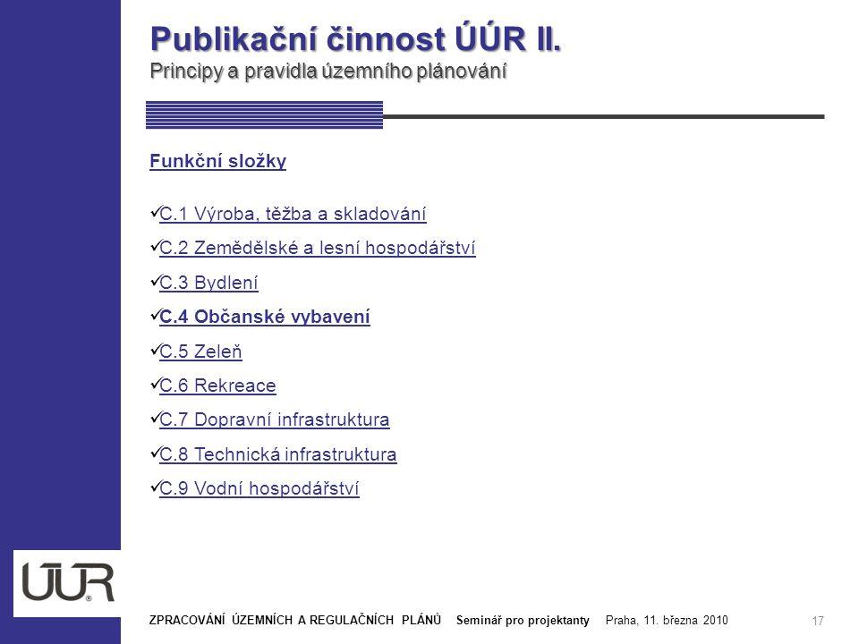 Publikační činnost ÚÚR II. Principy a pravidla územního plánování 17 Funkční složky C.1 Výroba, těžba a skladování C.1 Výroba, těžba a skladování C.2