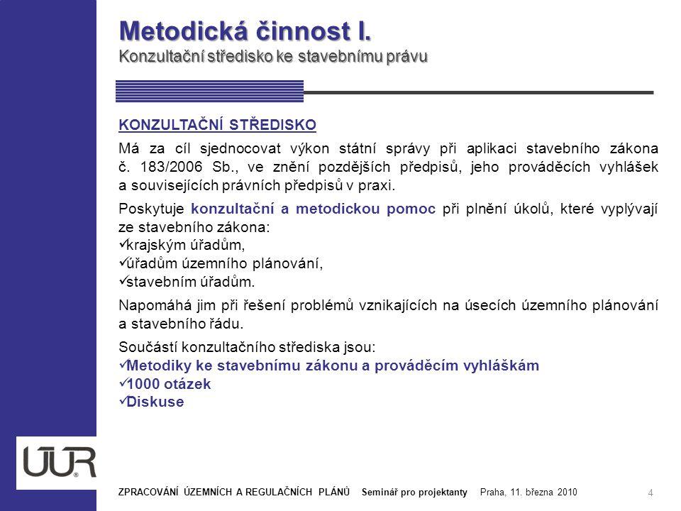 Metodická činnost I. Konzultační středisko ke stavebnímu právu 4 ZPRACOVÁNÍ ÚZEMNÍCH A REGULAČNÍCH PLÁNŮ Seminář pro projektanty Praha, 11. března 201