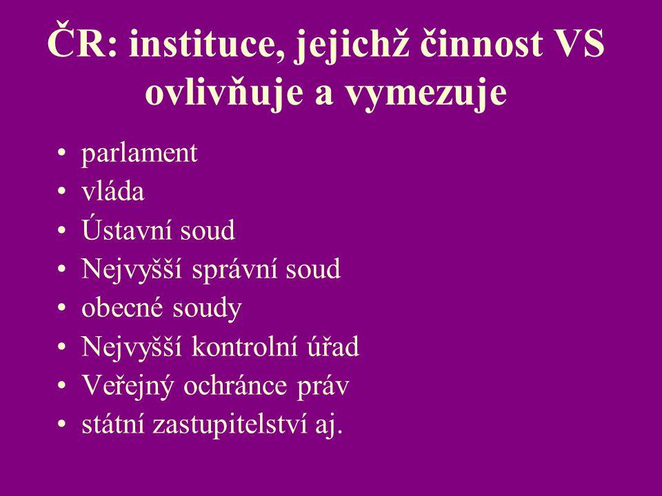 ČR: instituce, jejichž činnost VS ovlivňuje a vymezuje parlament vláda Ústavní soud Nejvyšší správní soud obecné soudy Nejvyšší kontrolní úřad Veřejný