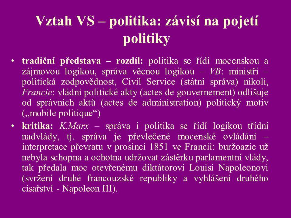 Vztah VS – politika: závisí na pojetí politiky tradiční představa – rozdíl: politika se řídí mocenskou a zájmovou logikou, správa věcnou logikou – VB: