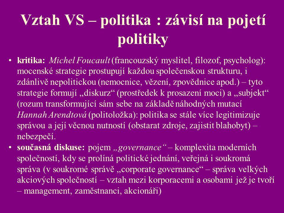 Vztah VS – politika : závisí na pojetí politiky kritika: Michel Foucault (francouzský myslitel, filozof, psycholog): mocenské strategie prostupují kaž