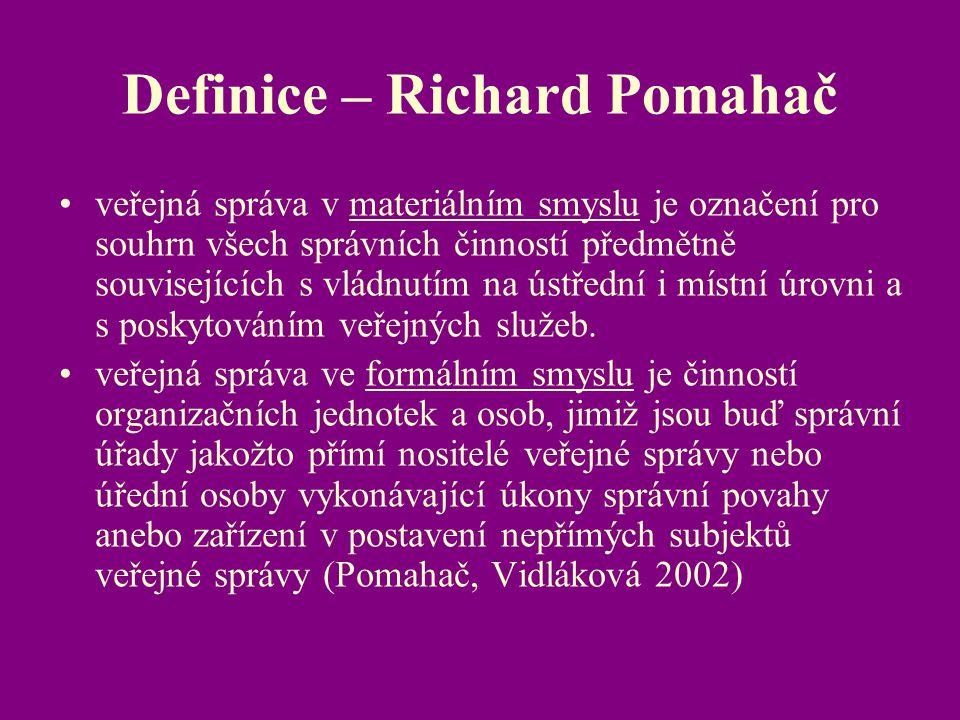 Definice – Richard Pomahač veřejná správa v materiálním smyslu je označení pro souhrn všech správních činností předmětně souvisejících s vládnutím na
