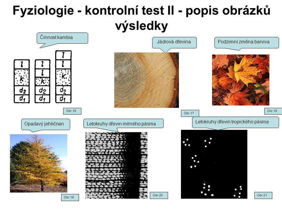 Fyziologie - kontrolní test II - popis obrázků výsledky Činnost kambia Jádrová dřevinaPodzimní změna barviva Opadavý jehličnan Letokruhy dřevin tropic
