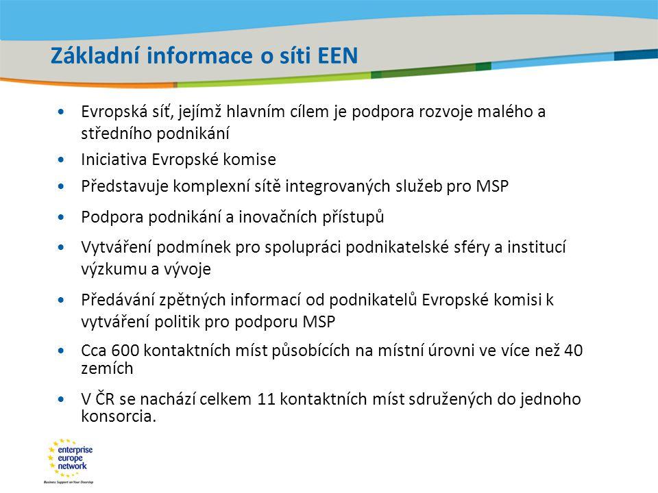 Title of the presentation | Date |‹#› Základní informace o síti EEN Evropská síť, jejímž hlavním cílem je podpora rozvoje malého a středního podnikání