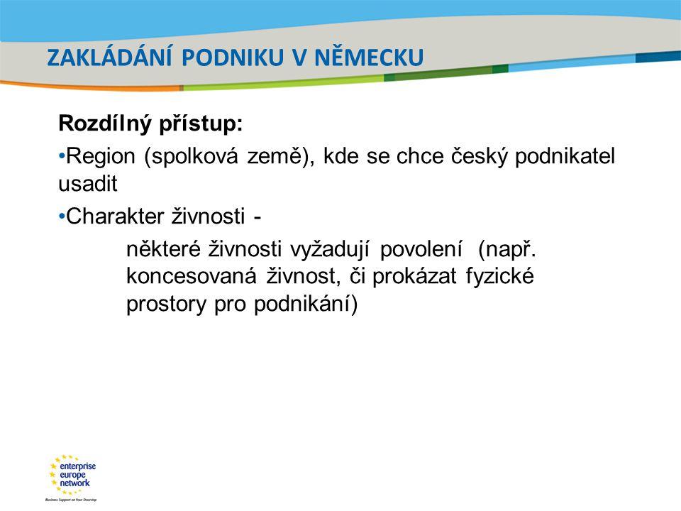 Title of the presentation | Date |‹#› ZAKLÁDÁNÍ PODNIKU V NĚMECKU Rozdílný přístup: Region (spolková země), kde se chce český podnikatel usadit Charak