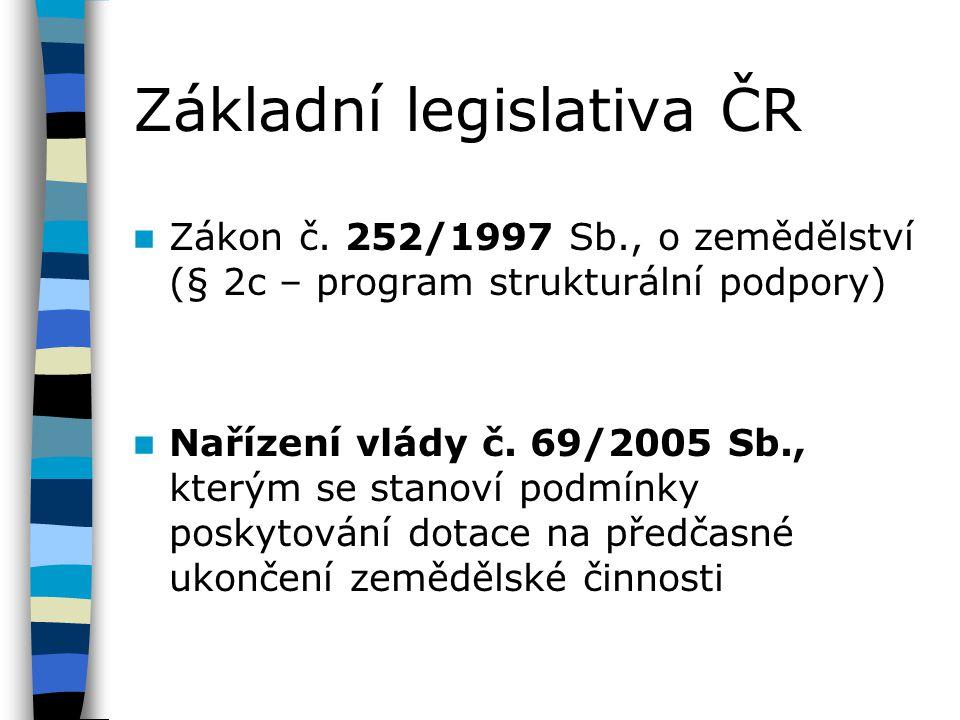 Základní legislativa ČR Zákon č. 252/1997 Sb., o zemědělství (§ 2c – program strukturální podpory) Nařízení vlády č. 69/2005 Sb., kterým se stanoví po