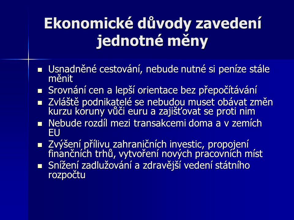 Ekonomické důvody zavedení jednotné měny Usnadněné cestování, nebude nutné si peníze stále měnit Usnadněné cestování, nebude nutné si peníze stále měn