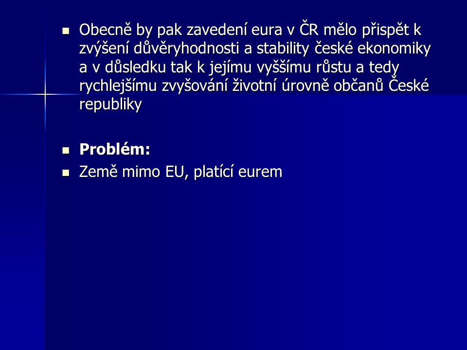 Obecně by pak zavedení eura v ČR mělo přispět k zvýšení důvěryhodnosti a stability české ekonomiky a v důsledku tak k jejímu vyššímu růstu a tedy rychlejšímu zvyšování životní úrovně občanů České republiky Obecně by pak zavedení eura v ČR mělo přispět k zvýšení důvěryhodnosti a stability české ekonomiky a v důsledku tak k jejímu vyššímu růstu a tedy rychlejšímu zvyšování životní úrovně občanů České republiky Problém: Problém: Země mimo EU, platící eurem Země mimo EU, platící eurem