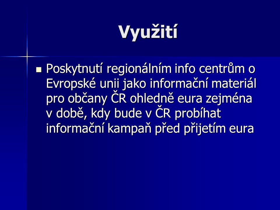 Využití Poskytnutí regionálním info centrům o Evropské unii jako informační materiál pro občany ČR ohledně eura zejména v době, kdy bude v ČR probíhat informační kampaň před přijetím eura Poskytnutí regionálním info centrům o Evropské unii jako informační materiál pro občany ČR ohledně eura zejména v době, kdy bude v ČR probíhat informační kampaň před přijetím eura
