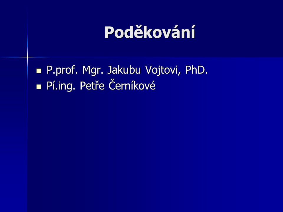 Poděkování P.prof. Mgr. Jakubu Vojtovi, PhD. P.prof. Mgr. Jakubu Vojtovi, PhD. Pí.ing. Petře Černíkové Pí.ing. Petře Černíkové