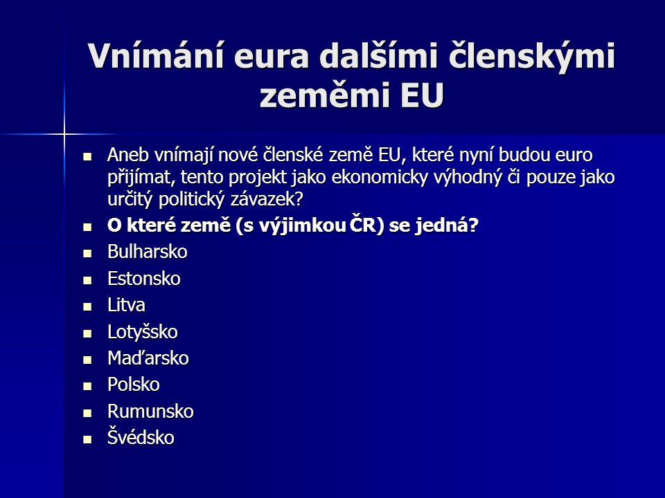 Vnímání eura dalšími členskými zeměmi EU Aneb vnímají nové členské země EU, které nyní budou euro přijímat, tento projekt jako ekonomicky výhodný či pouze jako určitý politický závazek.