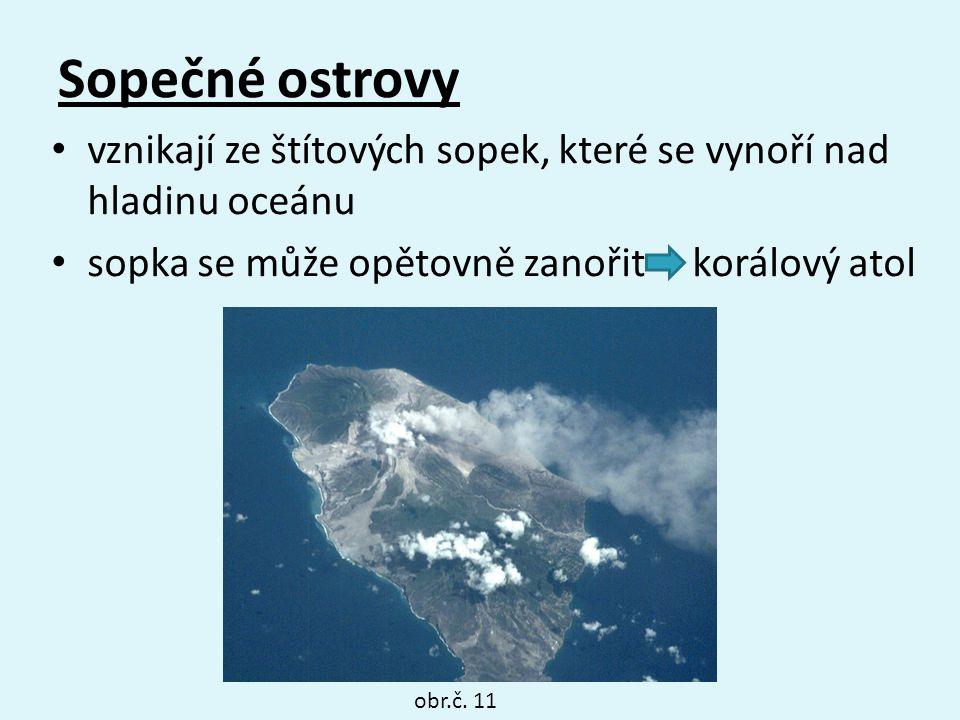 Sopečné ostrovy vznikají ze štítových sopek, které se vynoří nad hladinu oceánu sopka se může opětovně zanořit korálový atol obr.č. 11