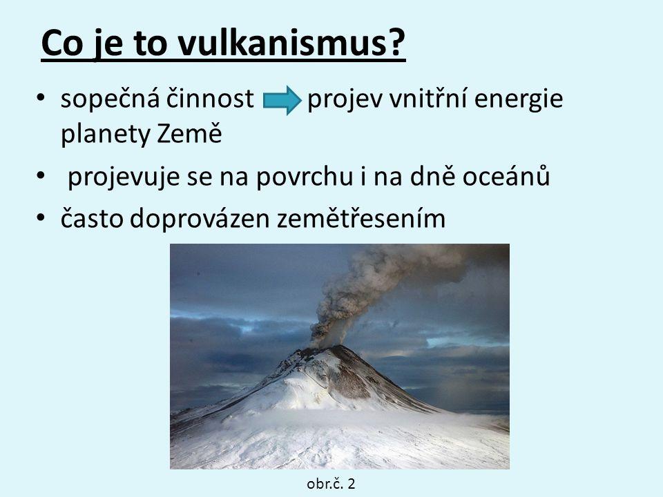 Co je to vulkanismus? sopečná činnost projev vnitřní energie planety Země projevuje se na povrchu i na dně oceánů často doprovázen zemětřesením obr.č.