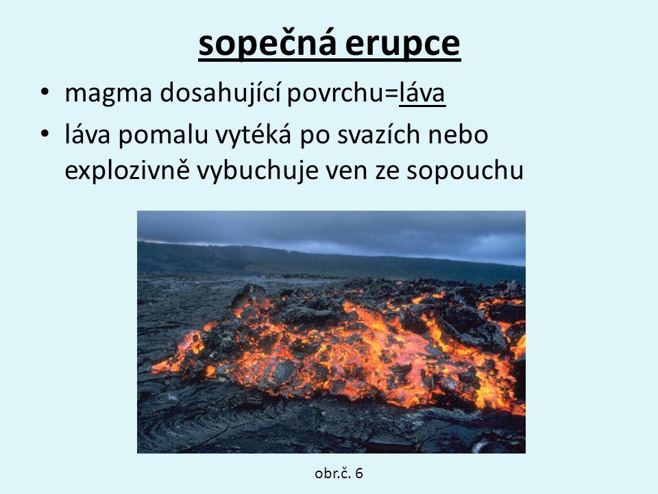 sopečná erupce magma dosahující povrchu=láva láva pomalu vytéká po svazích nebo explozivně vybuchuje ven ze sopouchu obr.č. 6