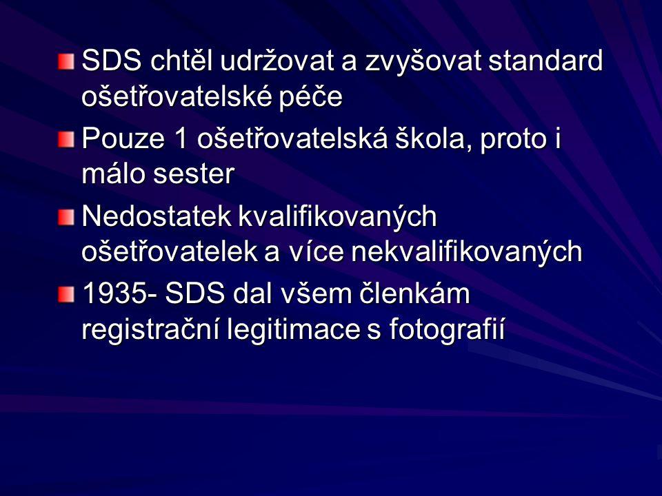 SDS chtěl udržovat a zvyšovat standard ošetřovatelské péče Pouze 1 ošetřovatelská škola, proto i málo sester Nedostatek kvalifikovaných ošetřovatelek