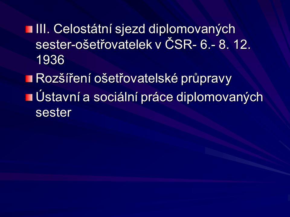III. Celostátní sjezd diplomovaných sester-ošetřovatelek v ČSR- 6.- 8. 12. 1936 Rozšíření ošetřovatelské průpravy Ústavní a sociální práce diplomovaný