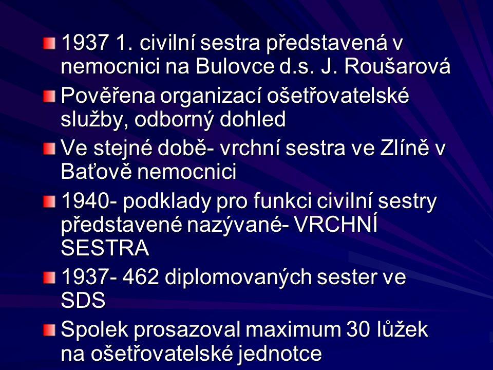 1937 1. civilní sestra představená v nemocnici na Bulovce d.s. J. Roušarová Pověřena organizací ošetřovatelské služby, odborný dohled Ve stejné době-