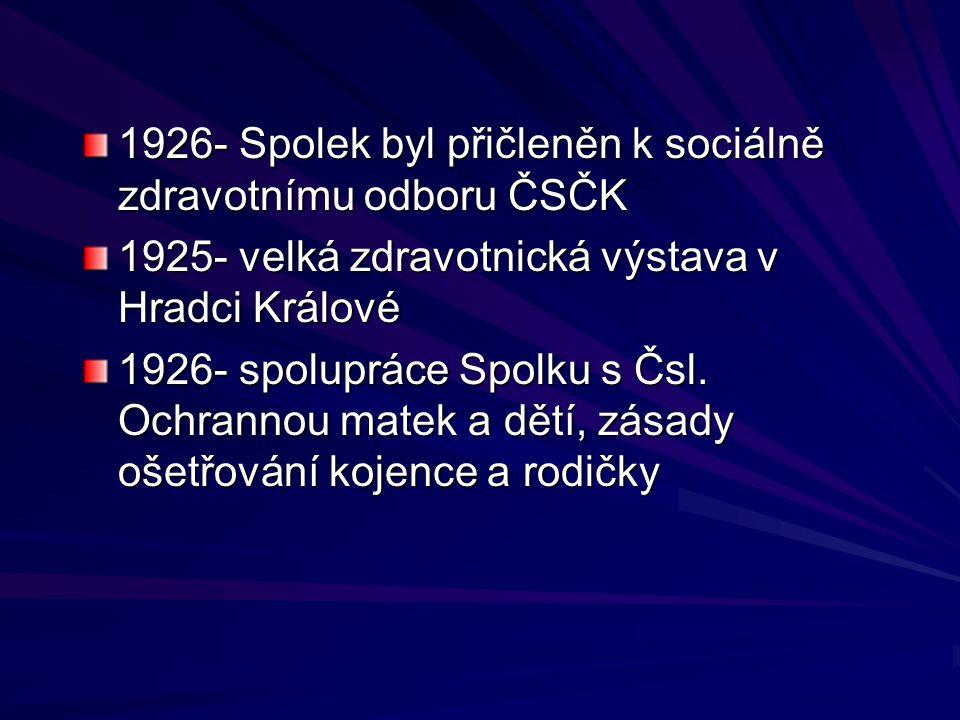 1926- Spolek byl přičleněn k sociálně zdravotnímu odboru ČSČK 1925- velká zdravotnická výstava v Hradci Králové 1926- spolupráce Spolku s Čsl. Ochrann