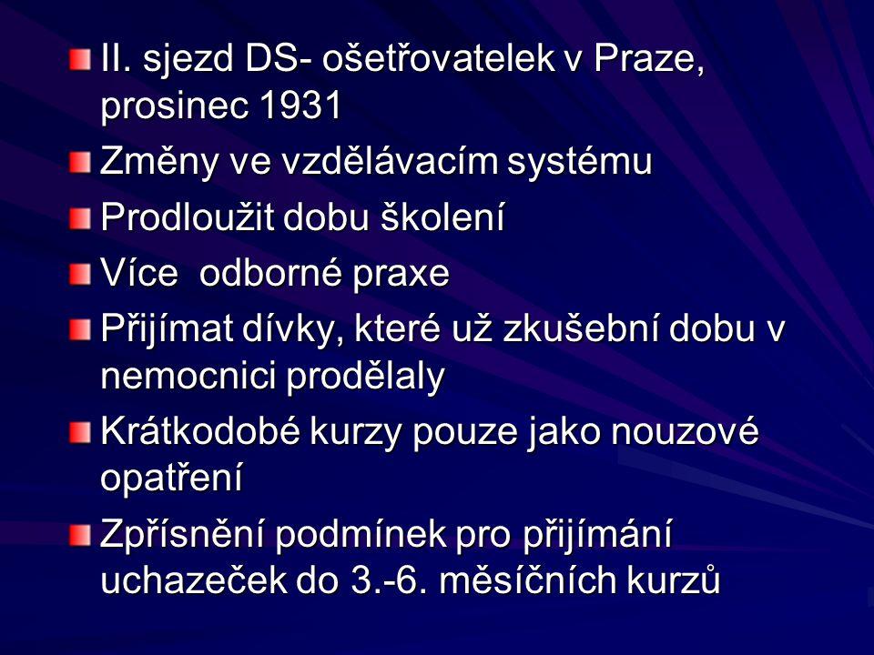 II. sjezd DS- ošetřovatelek v Praze, prosinec 1931 Změny ve vzdělávacím systému Prodloužit dobu školení Více odborné praxe Přijímat dívky, které už zk