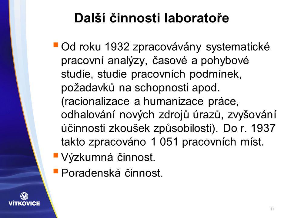 11 Další činnosti laboratoře  Od roku 1932 zpracovávány systematické pracovní analýzy, časové a pohybové studie, studie pracovních podmínek, požadavků na schopnosti apod.