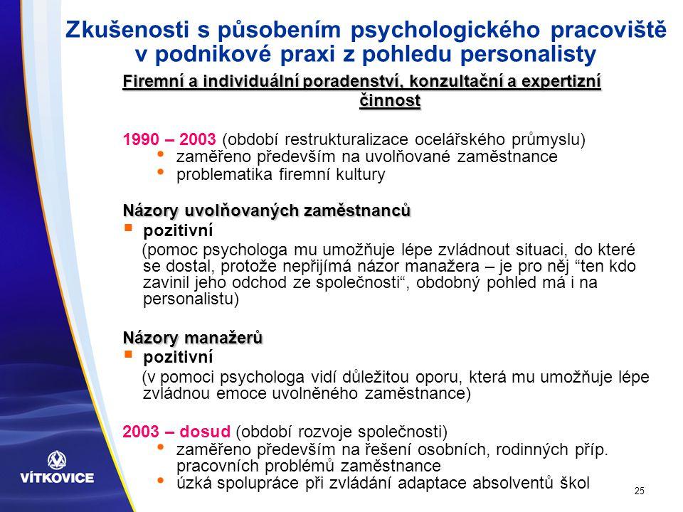 25 Zkušenosti s působením psychologického pracoviště v podnikové praxi z pohledu personalisty Firemní a individuální poradenství, konzultační a expertizní činnost 1990 – 2003 (období restrukturalizace ocelářského průmyslu) zaměřeno především na uvolňované zaměstnance problematika firemní kultury Názory uvolňovaných zaměstnanců  pozitivní (pomoc psychologa mu umožňuje lépe zvládnout situaci, do které se dostal, protože nepřijímá názor manažera – je pro něj ten kdo zavinil jeho odchod ze společnosti , obdobný pohled má i na personalistu) Názory manažerů  pozitivní (v pomoci psychologa vidí důležitou oporu, která mu umožňuje lépe zvládnou emoce uvolněného zaměstnance) 2003 – dosud (období rozvoje společnosti) zaměřeno především na řešení osobních, rodinných příp.