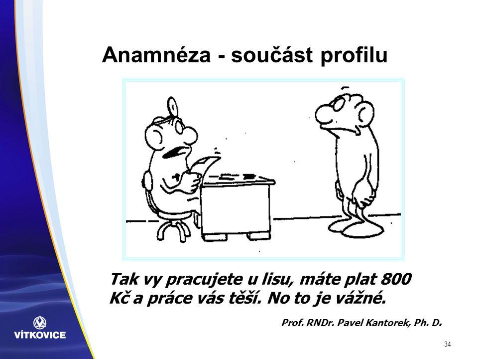 34 Anamnéza - součást profilu Tak vy pracujete u lisu, máte plat 800 Kč a práce vás těší.