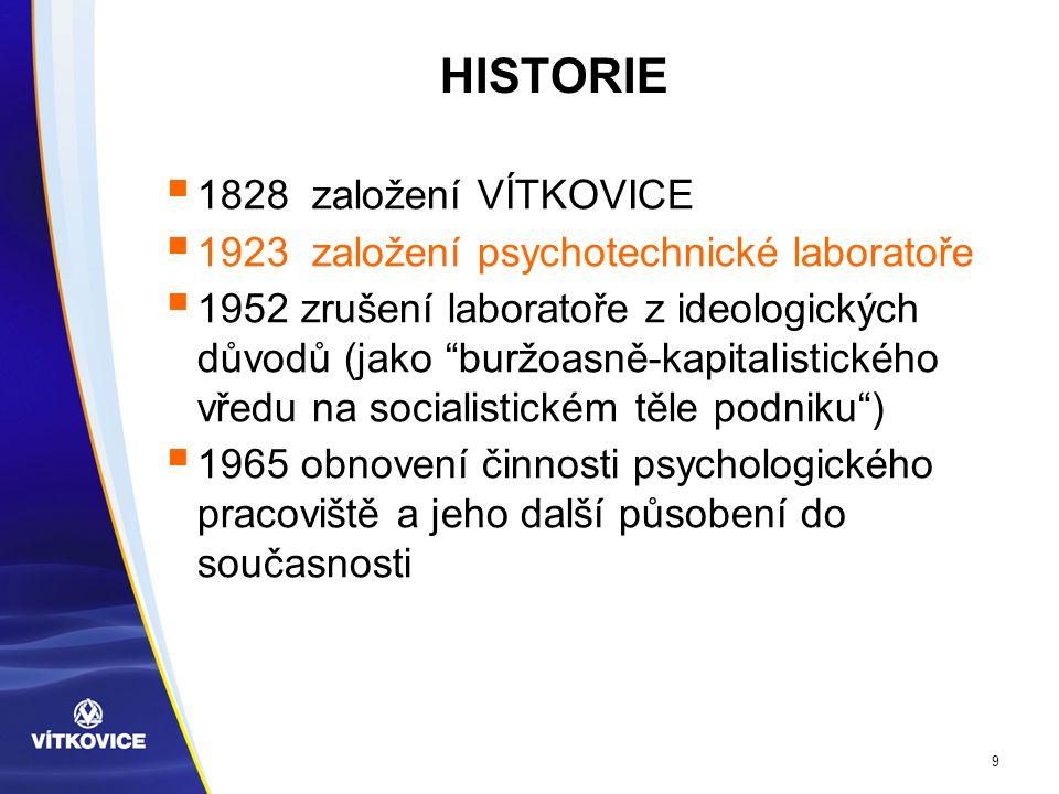 9 HISTORIE  1828 založení VÍTKOVICE  1923 založení psychotechnické laboratoře  1952 zrušení laboratoře z ideologických důvodů (jako buržoasně-kapitalistického vředu na socialistickém těle podniku )  1965 obnovení činnosti psychologického pracoviště a jeho další působení do současnosti