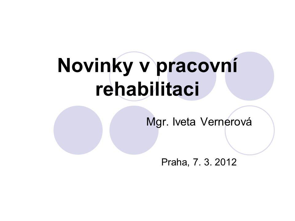 Pracovní rehabilitace Zákon č.435/2004 Sb., o zaměstnanosti § 69 – § 74 Vyhláška č.