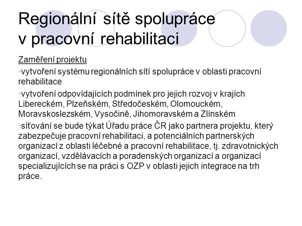Regionální sítě spolupráce v pracovní rehabilitaci Zaměření projektu vytvoření systému regionálních sítí spolupráce v oblasti pracovní rehabilitace vy