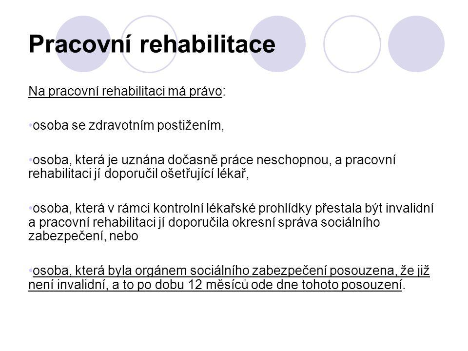 Pracovní rehabilitace Na pracovní rehabilitaci má právo: osoba se zdravotním postižením, osoba, která je uznána dočasně práce neschopnou, a pracovní r