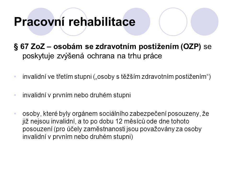 """Pracovní rehabilitace § 67 ZoZ – osobám se zdravotním postižením (OZP) se poskytuje zvýšená ochrana na trhu práce invalidní ve třetím stupni (""""osoby s"""
